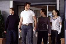 Shawn Ashmore as Iceman, Hugh Jackman as Logan, Aaron Stanford as Pyro and Anna Paquin as Rogue in 20th Century Fox's X2: X-Men United - 2003