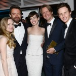 Amanda Seyfried, Hugh Jackman, Anne Hathaway, director Tom Hooper and actor Eddie Redmayne