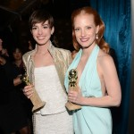 Golden Globe Award winners Anne Hathaway and Jessica Chastain