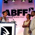 ABFF 2012 Ambassador Tracey Ellis Ross on stage with Jeff and Nicole Friday