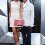 The Dark Knight Rises premiere - Miss Universe Leila Lopes and Russell Simmons