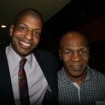 Shubert Organization's Director of Real Estate & Special Projects Julio Peterson and Mike Tyson