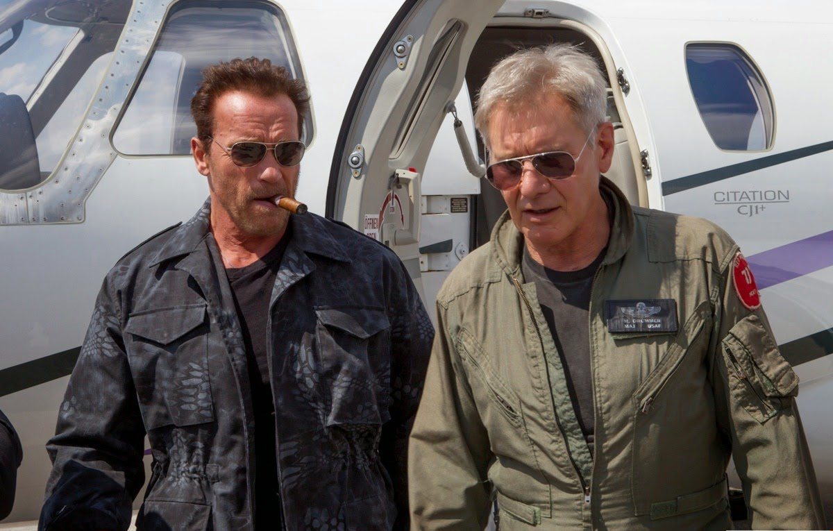 The Expendables 3 - Arnold Schwarzenegger and Harrison ... Bruce Willis Tower