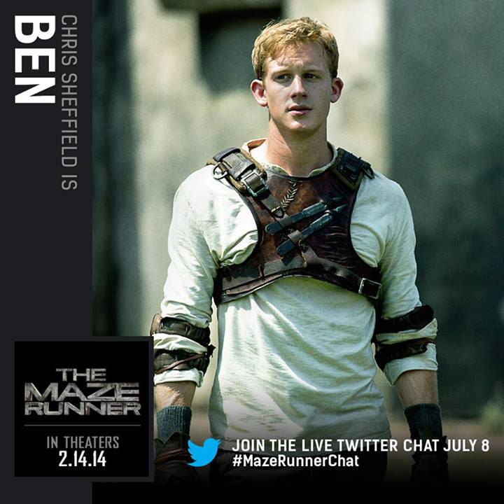 the maze runner character cards chris sheffield as ben