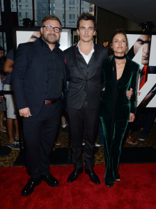 Director Aleksander Bach with Rupert Friend and Hannah Ware