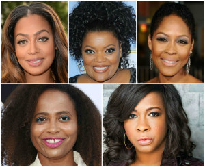 New Edition cast members - La La Anthony, Yvette Nicole Brown, Monica Calhoun, Lisa Nicole Carson, and Sandi McCree