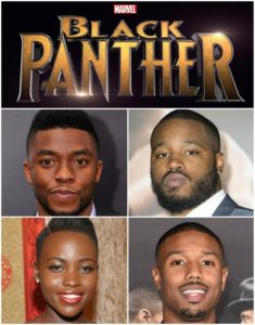 Black Panther cast - Chadwick Boseman, director Ryan Coogler, Lupita Nyong'o, and Michael B. Jordan