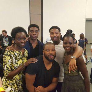 Black Panther cast - Danai Gurira, Chadwick Boseman, Ryan Coogler, Michael B. Jordan, Lupita Nyong'o at Comic-Con 2016