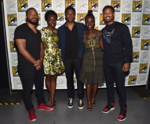 "SAN DIEGO, CA - JULY 23: (L-R) Director Ryan Coogler, actors Danai Gurira, Chadwick Boseman, Lupita Nyong'o and Michael B. Jordan from Marvel Studios' ""Black Panther"" attend the San Diego Comic-Con International 2016 Marvel Panel in Hall H on July 23, 2016 in San Diego, California. ©Marvel Studios 2016 (Photo by Alberto E. Rodriguez/Getty Images for Disney) *** Local Caption *** Ryan Coogler; Danai Gurira; Chadwick Boseman; Lupita Nyong'o; Michael B. Jordan"
