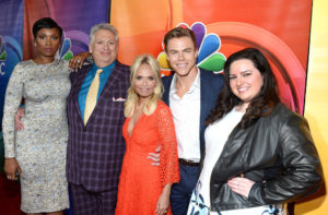 BEVERLY HILLS, CA - AUGUST 02: (L-R) Actors Jennifer Hudson, Harvey Fierstein, Kristin Chenoweth, Derek Hough and Maddie Baillio attend the NBCUniversal press day during the 2016 Summer TCA Tour at The Beverly Hilton Hotel on August 2, 2016 in Beverly Hills, California. (Photo by Matt Winkelmeyer/Getty Images)