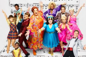 HAIRSPRAY LIVE! -- Season: 2016 -- Pictured: (l-r) back row: Ephraim Skyes as Seaweed J. Stubbs, Jennifer Hudson as Motormouth Maybelle, Martin Short as Wilbur Turnblad, Dove Cameron as Amber Von Tussle; middle row: Ariana Grande as Penny Pingleton, Garrett Clayton as Link Larkin, Harvey Fierstein as Edna Turnblad, Maddie Baillio as Tracy Turnblad, Kristin Chenoweth as Velma Von Tussle, front row: Shahadi Wright Joseph as Little Inez, Derek Hough as Corny Collins — (Photo by: Brian Bowen Smith/NBC)